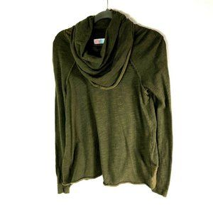 FP Beach OS Green Cocoon Cowl Neck Pullover Top